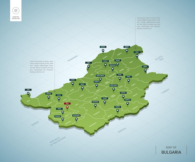 불가리아의 양식 된지도. 도시, 국경, 수도 소피아, 지역이있는 아이소 메트릭 3d 녹색지도.