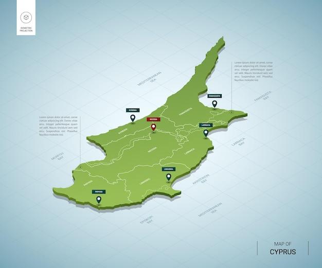都市とキプロスの等尺性3dグリーンマップの様式化された地図