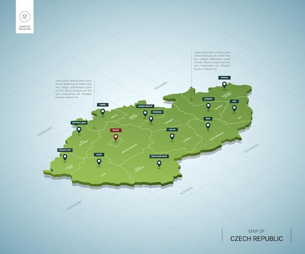 チェコ共和国の定型化された地図都市、国境、首都プラハ、地域の等尺性3dグリーンマップ