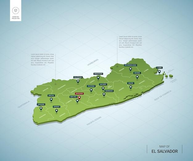 エルサルバドルの様式化された地図。都市、国境、首都、地域の等尺性3dグリーンマップ。