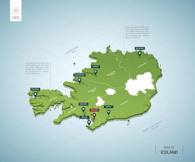 Стилизованная карта исландии изометрическая 3d зеленая карта с городами