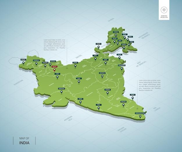 インドの様式化された地図。