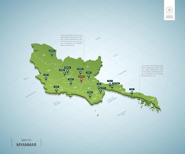 ミャンマーの定型化された地図。都市、国境、首都ネピドー、地域を含む等尺性の3dグリーンマップ。