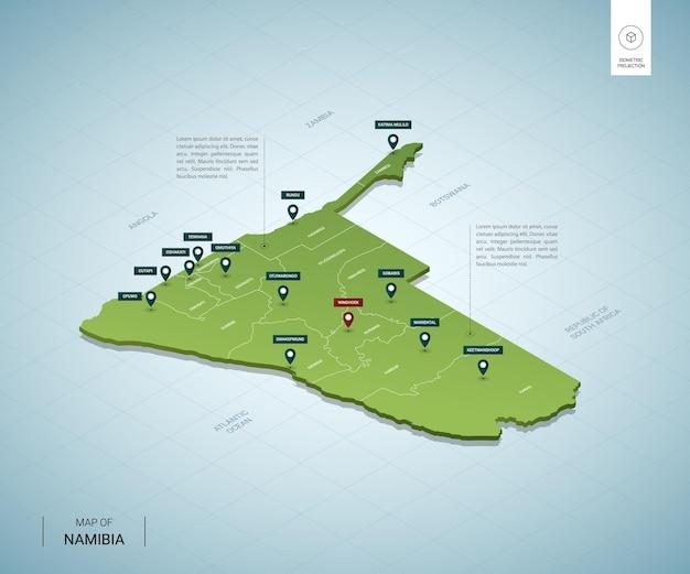 ナミビアの定型化された地図。都市、国境、首都ウィントフック、地域を含む等尺性の3dグリーンマップ。