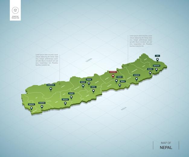 ネパールの定型化された地図。都市、国境、首都カトマンズ、地域の等尺性3dグリーンマップ。