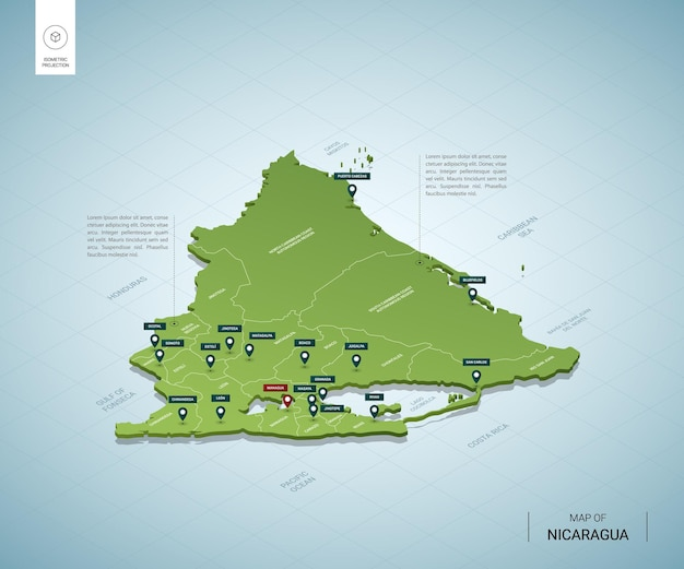 ニカラグアの定型化された地図。都市、国境、首都マナグア、地域の等尺性3dグリーンマップ。
