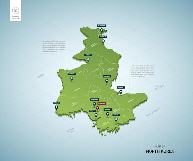 都市と北朝鮮の等尺性3dグリーンマップの様式化された地図