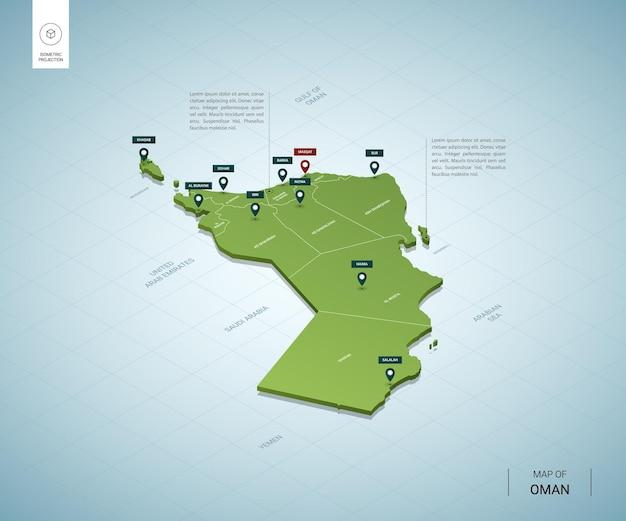 Стилизованная карта омана. изометрическая трехмерная зеленая карта с городами, границами, столицей маскат, регионами.