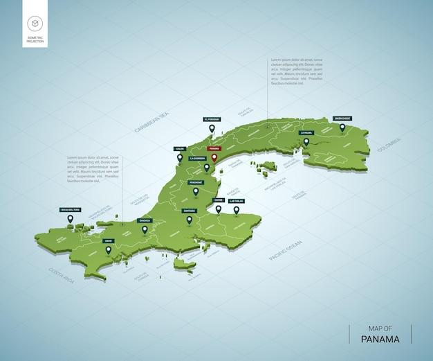 パナマの様式化された地図。都市、国境、首都、地域の等尺性3dグリーンマップ。