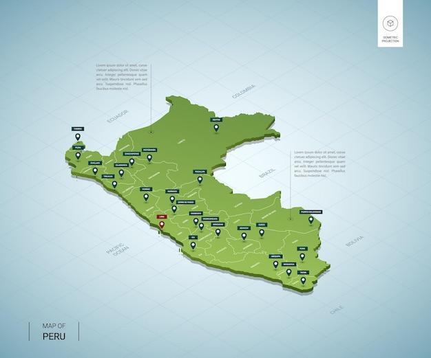 Стилизованная карта перу. изометрическая трехмерная зеленая карта с городами, границами, столицей лима, регионами.