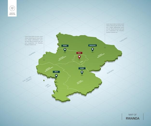 ルワンダの定型化された地図。都市、国境、首都キガリ、地域の等尺性3dグリーンマップ。