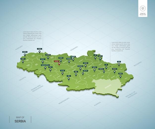 セルビアの様式化された地図。都市、国境、首都ベオグラード、地域の等尺性3dグリーンマップ。