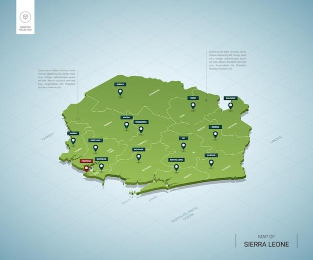 シエラレオネの定型化された地図。都市、国境、首都フリートウ、地域の等尺性3dグリーンマップ。