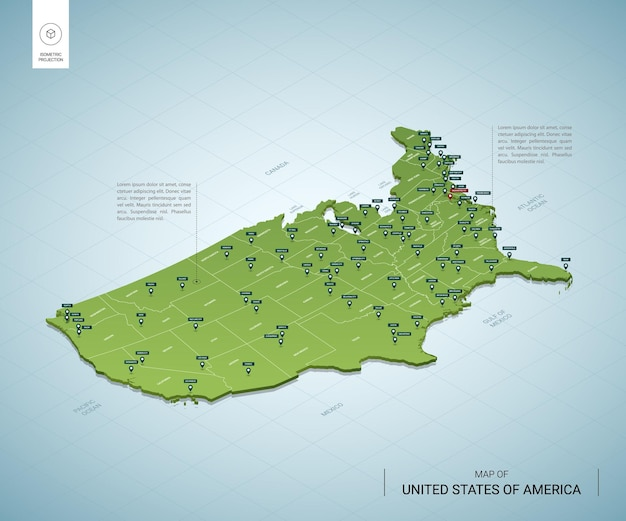 アメリカ合衆国の定型化された地図。都市、国境、首都ワシントン、地域の等尺性3dグリーンマップ。