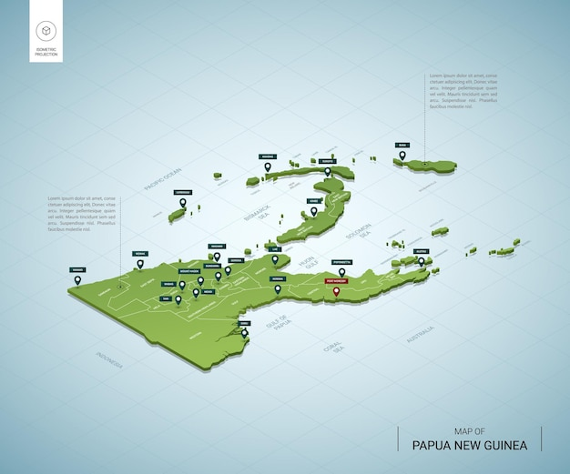 Stylized map of papua new guinea. isometric 3d green map with cities, borders, capital, regions.