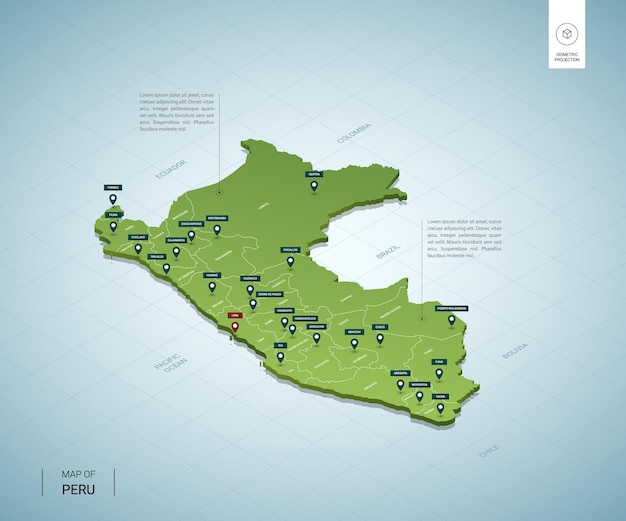 Stylized map of peru. isometric 3d green map with cities, borders, capital lima, regions.