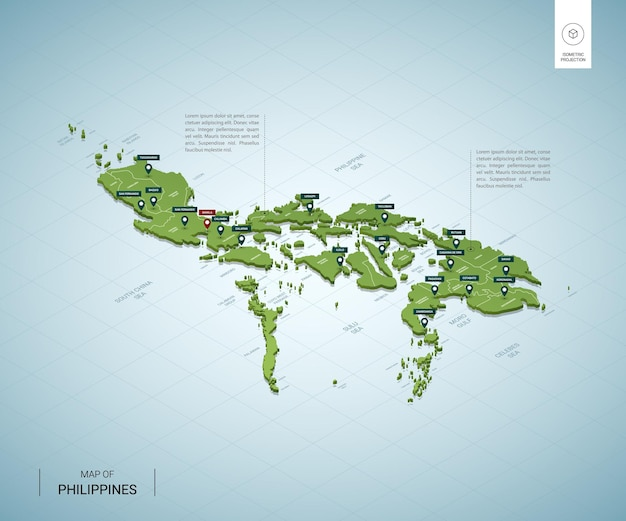 Stylized map of philippines isometric 3d green map with cities, borders, capital manila, regions