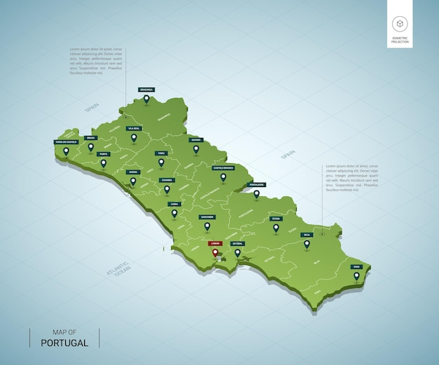 Stylized map of portugal. isometric 3d green map with cities, borders, capital lisbon, regions.
