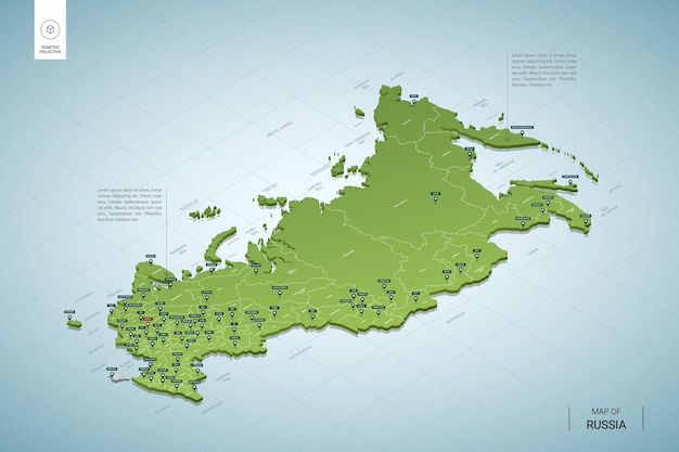 Stylized map of russia. isometric 3d green map with cities, borders, capital moscow, regions.