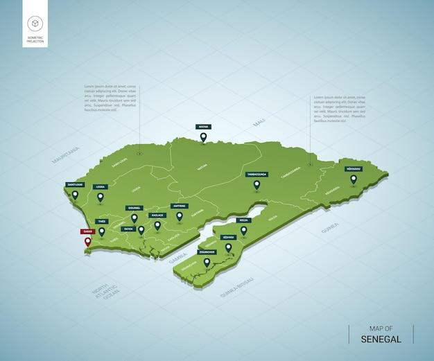 Stylized map of senegal. isometric 3d green map with cities, borders, capital dakar, regions.