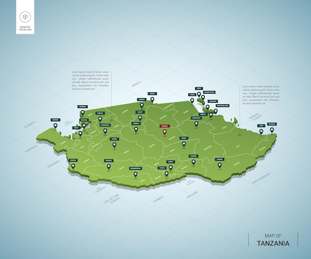 Stylized map of tanzania isometric 3d green map with cities, borders, capital, regions