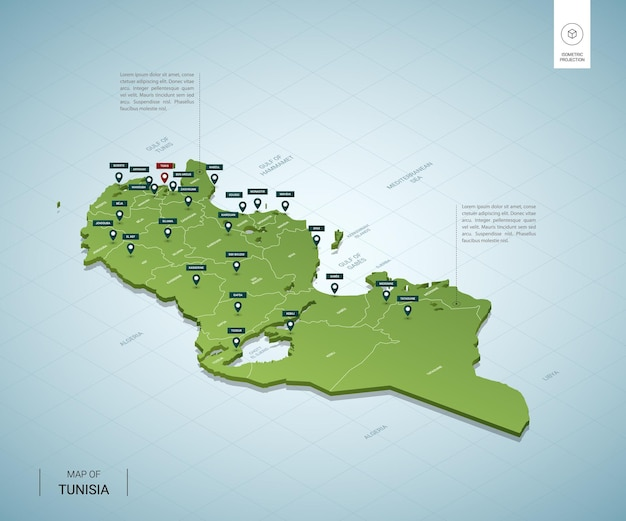 Stylized map of tunisia isometric 3d green map with cities, borders, capital, regions