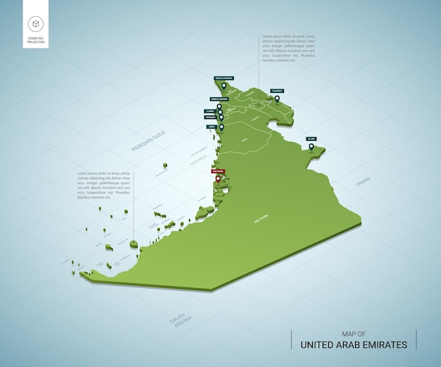 Stylized map of united arab emirates. isometric 3d green map with cities, borders, capital abu dhabi, regions.