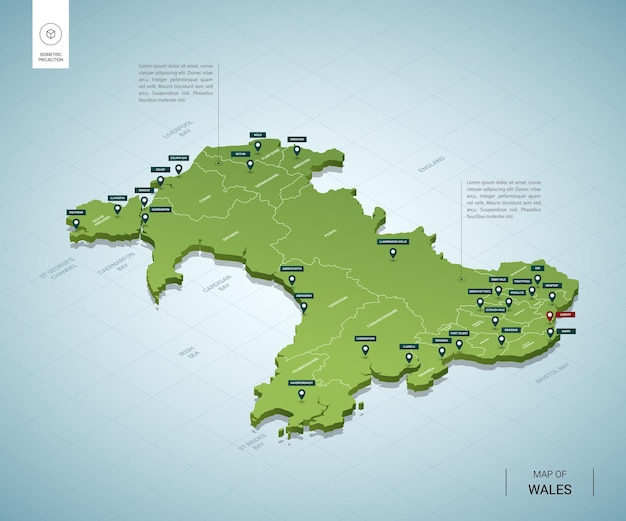 Stylized map of wales. isometric 3d green map with cities, borders, capital cardiff, regions.