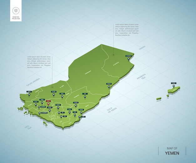 Stylized map of yemen isometric 3d green map with cities