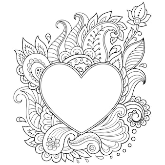 Stylized for mehndi flower pattern in form of heart. decoration in ethnic oriental, indian style.
