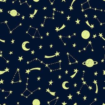 Stylized night sky seamless pattern.