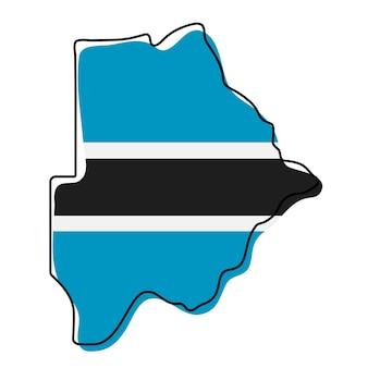 Stylized outline map of botswana with national flag icon. flag color map of botswana vector illustration.