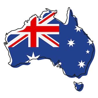 Стилизованная контурная карта австралии со значком национального флага. цветная карта флага австралии векторные иллюстрации.