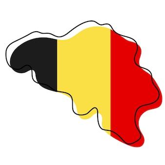 국기 아이콘이 있는 벨기에의 양식화된 개요 지도. 벨기에 벡터 일러스트 레이 션의 국기 색 지도입니다.