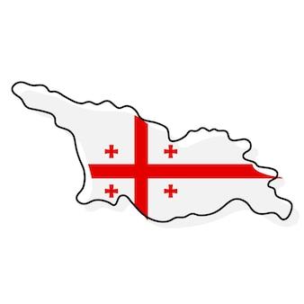 Стилизованная контурная карта грузии со значком национального флага. цветная карта флага грузии векторные иллюстрации.