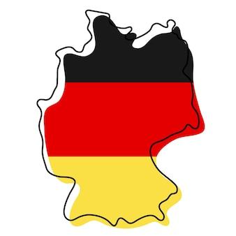 Стилизованная контурная карта германии со значком национального флага. цветная карта флага германии векторные иллюстрации.