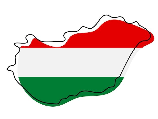 国旗のアイコンとハンガリーの様式化された白地図。ハンガリーのベクトルイラストの旗のカラーマップ。