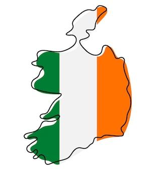 국기 아이콘으로 아일랜드의 양식된 개요 지도입니다. 아일랜드 벡터 일러스트 레이 션의 국기 색 지도입니다.