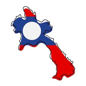 Стилизованная контурная карта лаоса со значком национального флага. цветная карта флага лаоса векторные иллюстрации.