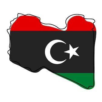 Стилизованная контурная карта ливии со значком национального флага. цветная карта флага ливии векторные иллюстрации.