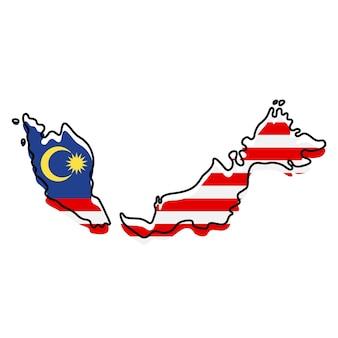 Стилизованная контурная карта малайзии со значком национального флага. цветная карта флага малайзии векторные иллюстрации.