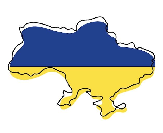 Стилизованная контурная карта украины со значком национального флага. цветная карта флага украины векторные иллюстрации.