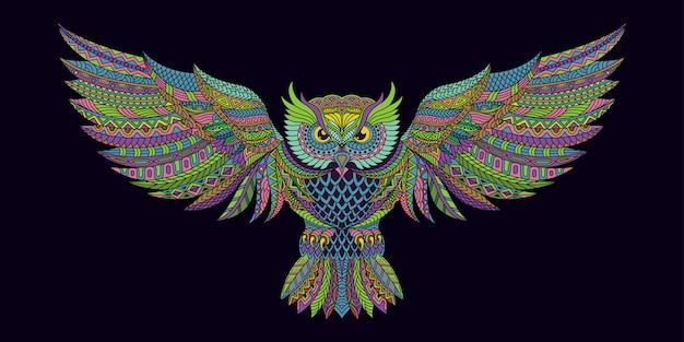 Стилизованная сова в этническом цвете