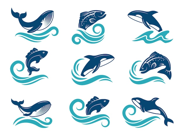 海洋動物の様式化された写真。サメ、魚など。