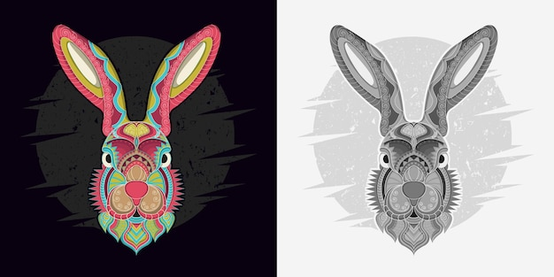 Stylized rabbit in ethnic vector black and white background