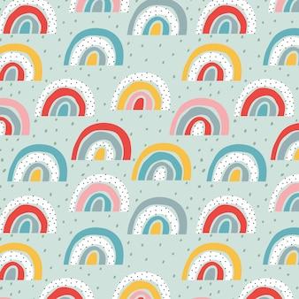 Stylized rainbow pattern. trendy childish   design . soft pastel colour hand-drawn pattern.