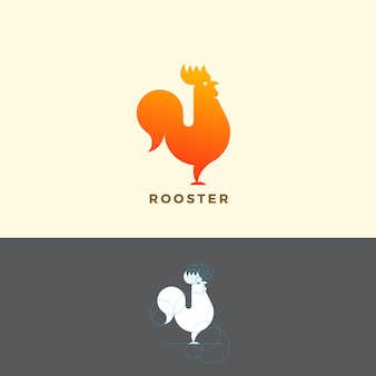 Stylized rooster sign, emblem or logo template. made with golden ratio principles.