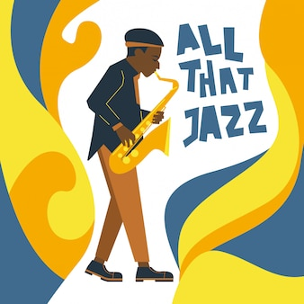 Stylized sax player and fluid jazz ornament