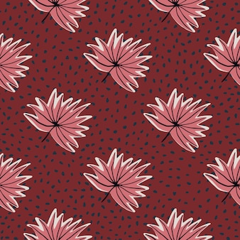 手で様式化されたシームレスパターンには、熱帯の葉が描かれています。ドットとピンクのアウトラインの紅葉と赤の背景。