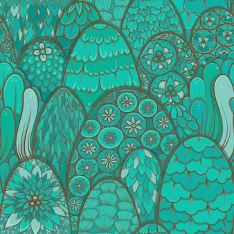 ターコイズブルーの木々や茂みで様式化されたシームレスパターン。植物の背景。アジアのテーマ